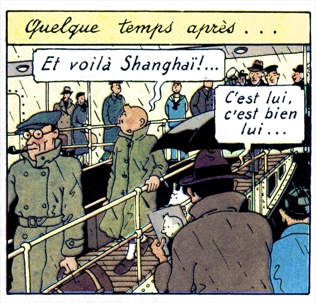 L'arrivée de Tintin à Shanghai dans le Lotus Bleu (Hergé).