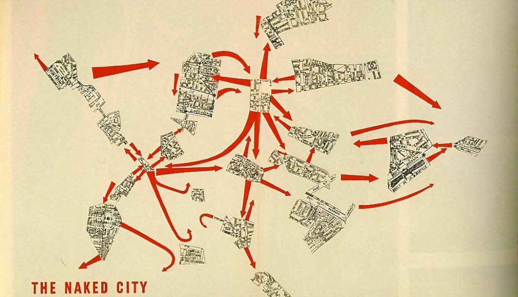 The Naked City —imprimé à Copenhague — réalisé en découpant les plans d'un Guide Taride de Paris