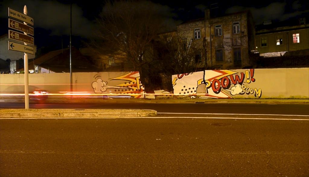 Wall by the graffiti bombing artist Pantonio