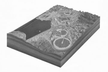 "Pete Watts, untitled (Alvarado Water Treatment Plant), graphite on paper over panel, 16x20x1"", 2010"