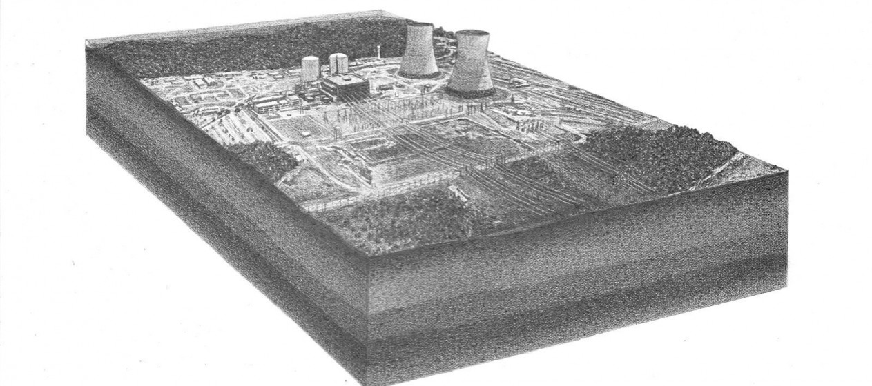"""Pete Watts, untitled (Belle Fonte Nuclear Power Plant), graphite on paper over panel, 9x12x1"""", 2010"""