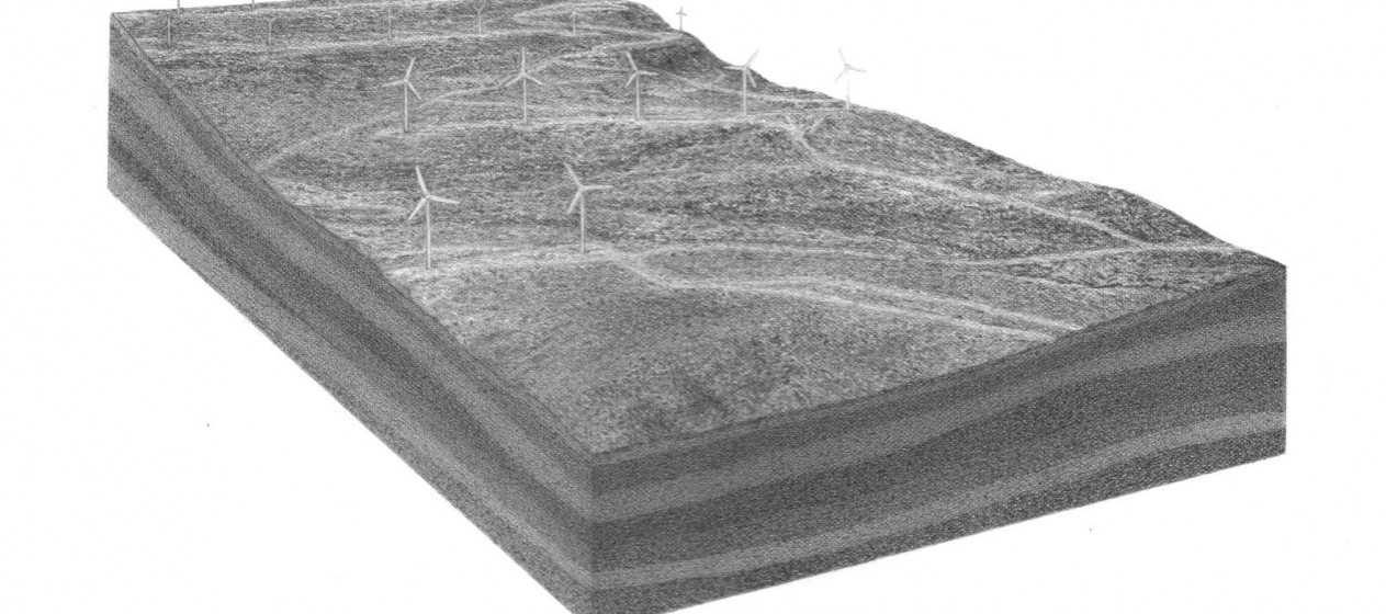 """Pete Watts, untitled (Blue Canyon Wind Farm), graphite on paper over panel, 9x12x1"""", 2011"""