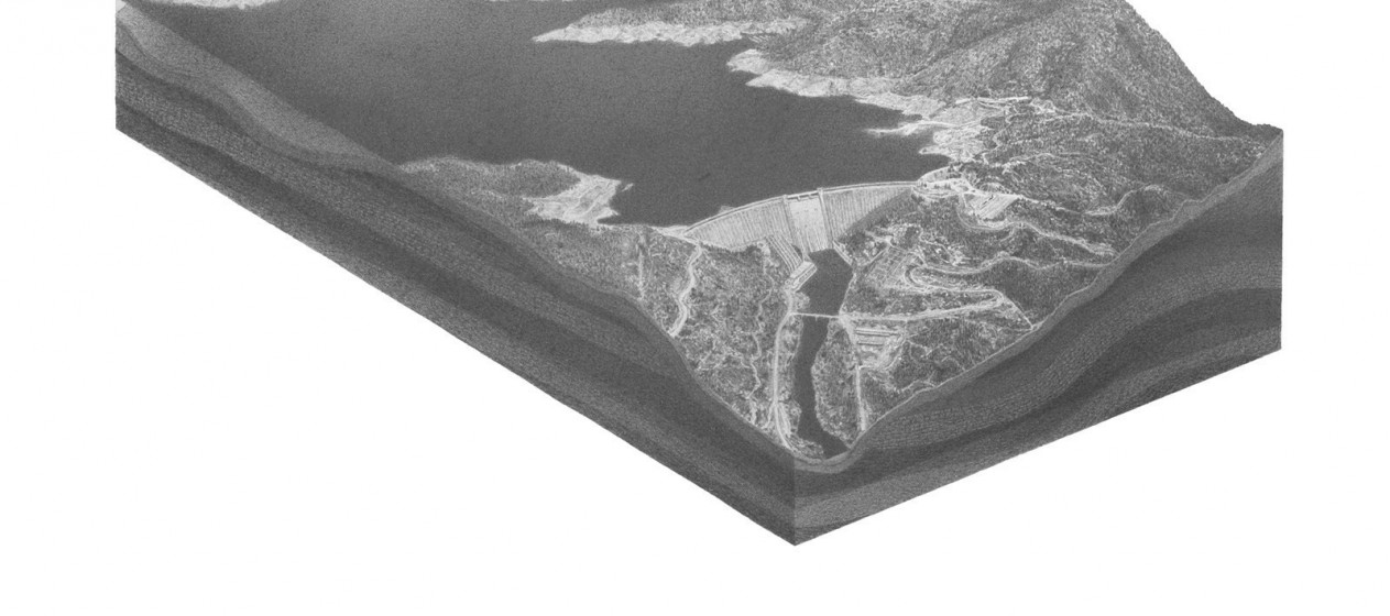 "Pete Watts, untitled (Shasta Dam 2), graphite on paper over panel, 16x20x1"", 2010"
