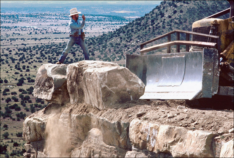 "Charles Ross constructing ""Star Axis,"" near Las Vegas, New Mexico, 1976"