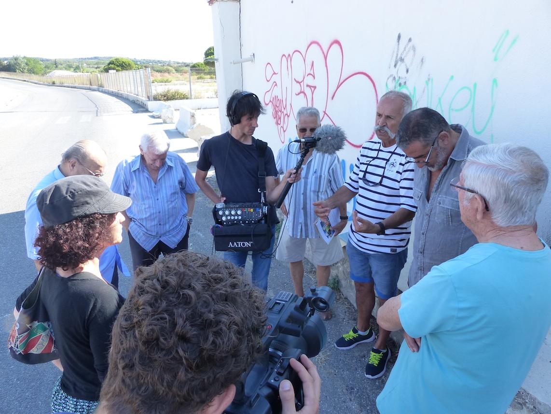 Pour l'installation sonore de Claire Dutrait, entretien devant les restes de l'usine chimique Kuhlman>Azur Chimie, septembre 2016 ©René Castaldo