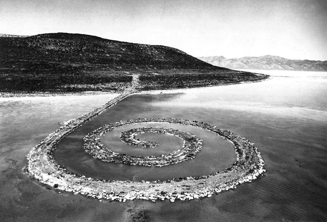 Robert Smithson, Spiral Jetty in red salt water, 1970
