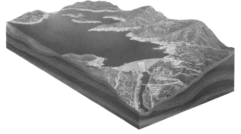 Pete Watts, Shasta Dam 2, graphite on paper over panel, 2010