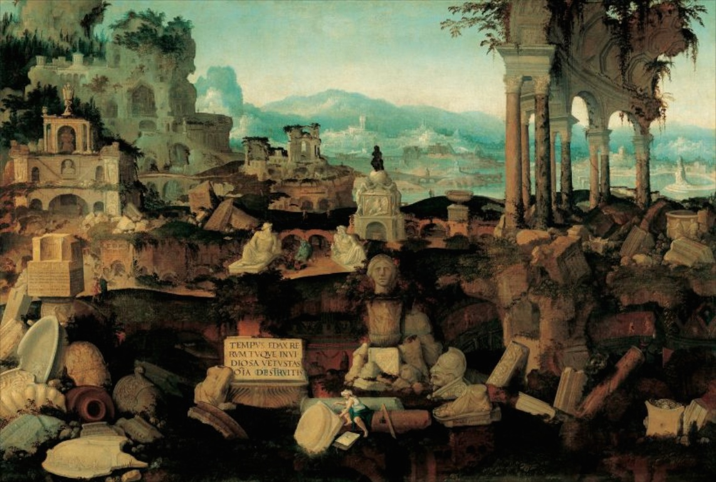 Herman Posthumus, Paysage avec ruines romaines, 1536