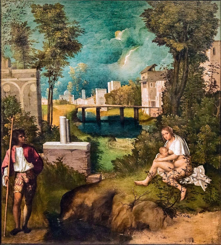 La Tempesta de Giorgione, huile sur toile datée de 1503, 82 x 73 cm.