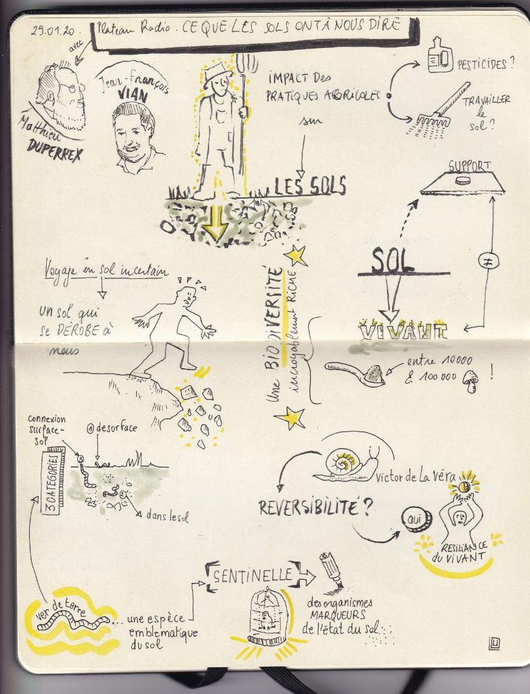 Sketchnote du plateau radio par Lou Herrmann