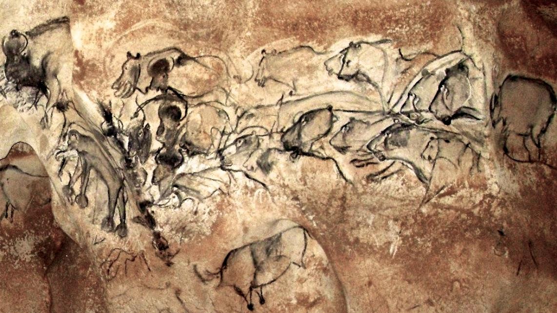 Grotte Chauvet, la grande fresque de la salle du fond.