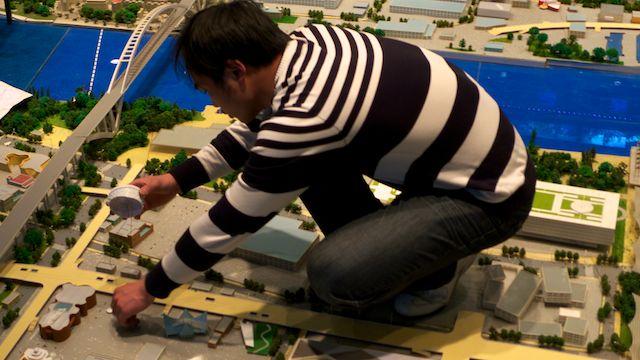 Mise en place de l'Exposition universelle sur la maquette de Shanghai