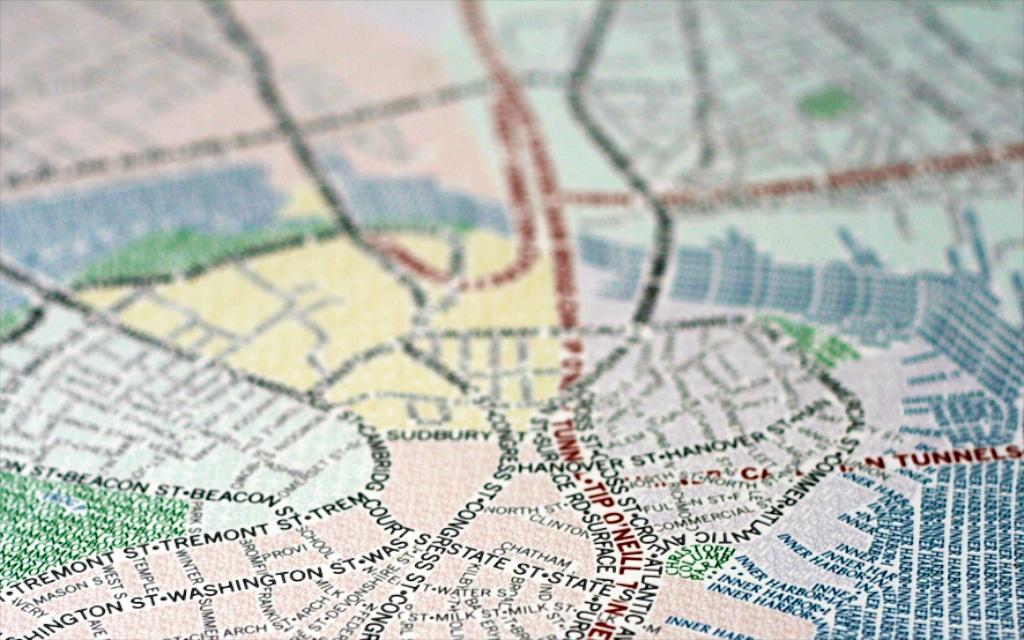 Carte de ville typographique